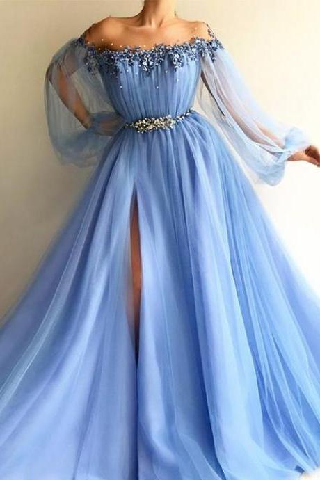 blue prom dresses 2020 flare sleeve beaded 3d flowers tulle elegant prom gown robe de soiree