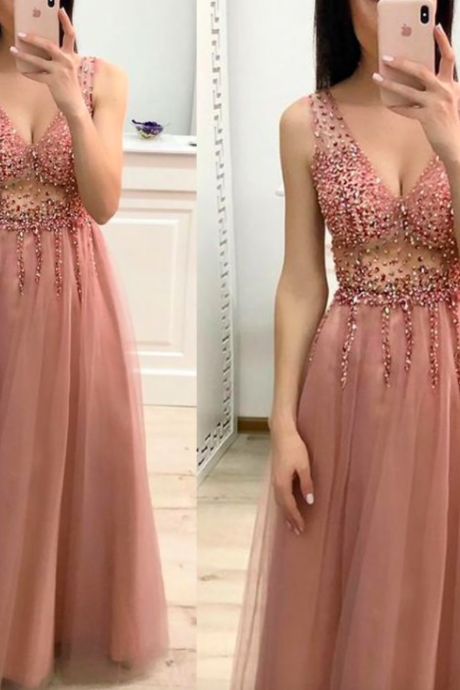dusty pink prom dresses long v neck beaded sexy elegant cheap prom gown vestido de festa de longo 2020