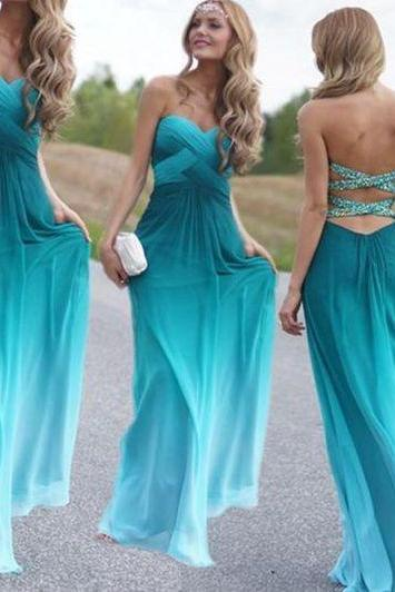 gradient green prom dresses long backless beaded a line chiffon cheap senior formal dress 2020 vestido de festa de longo