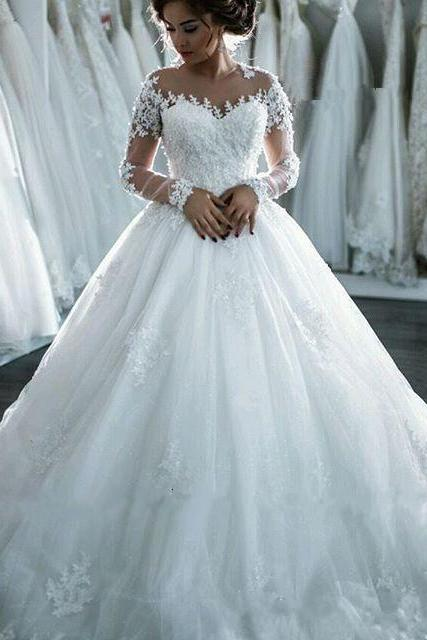 long sleeve ball gown wedding dresses for bride lace applique beaded princess elegant cheap wedding gown vestido de noiva
