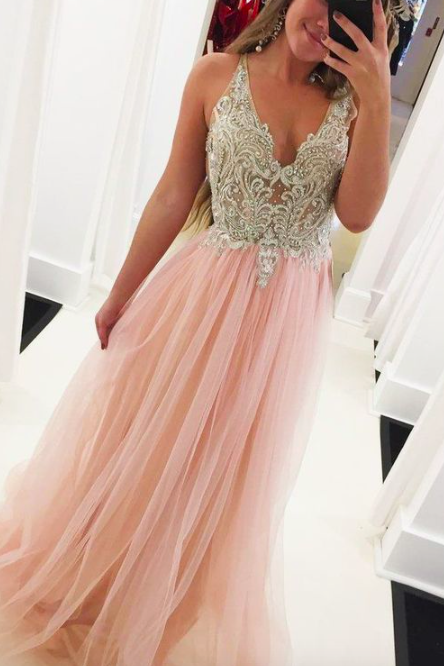 beaded top pink prom dresses long v neck crystals sleeveless elegant tulle prom gown robe de soiree 2020 vestido de longo