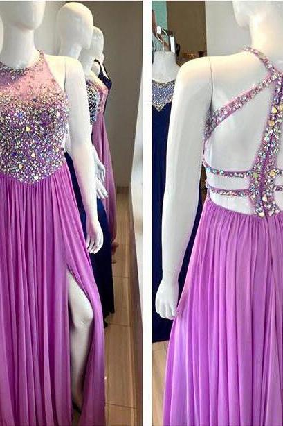 halter prom dresses long chiffon purple beaded backless sexy formal dresses vestido de festa de longo 2020 robe de soiree