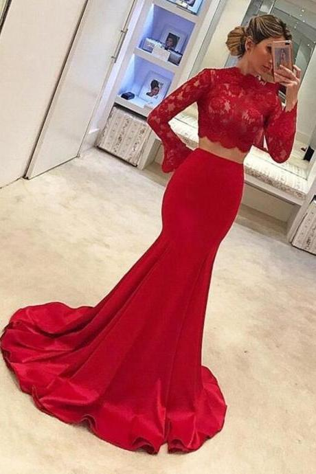 red mermaid evening dresses long flare sleeve lace applique elegant satin cheap evening gown vestido de festa de longo 2020