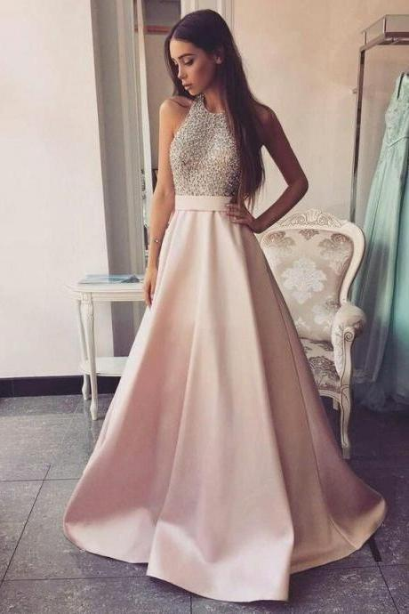 halter champagne prom dresses long beaded backless sexy satin cheap prom. gowns vestido de festa 2020 robe de soiree