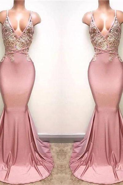 pink evening dresses long lace applique beaded mermaid backless elegant sexy formal dress robe de soiree evening gown vestido de festa
