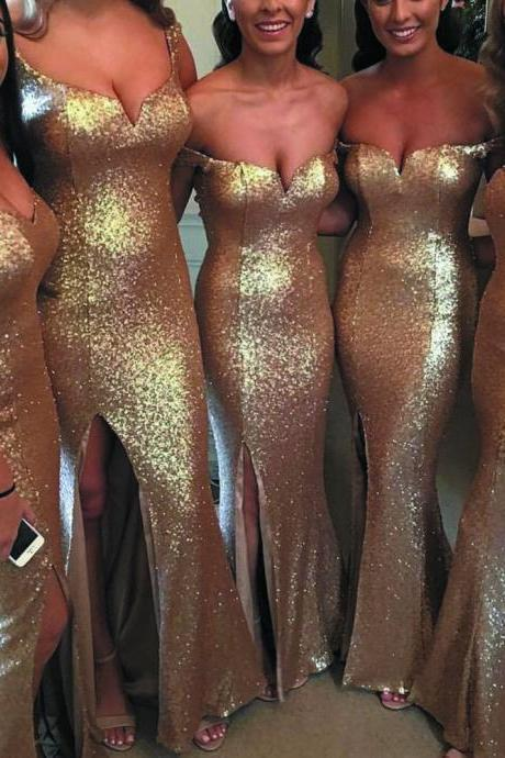gold sequin bridesmaid dresses long mermaid sparkle elegant off the shoulder cheap wedding guest dresses 2020