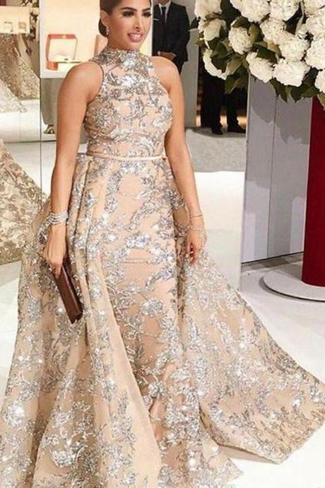 high neck champagne evening dresses long 2020 sequin applique elegant cheap evening gown vestido de longo robe de soiree