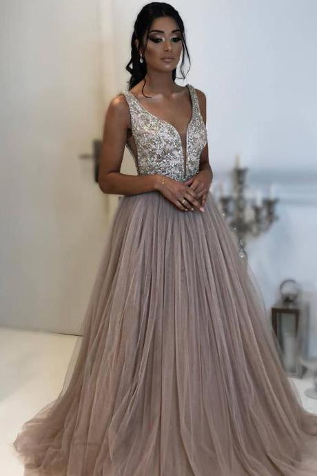 deep v neck brown prom dresses long beaded crystals a line tulle elegant prom gown vestido de festa de longo