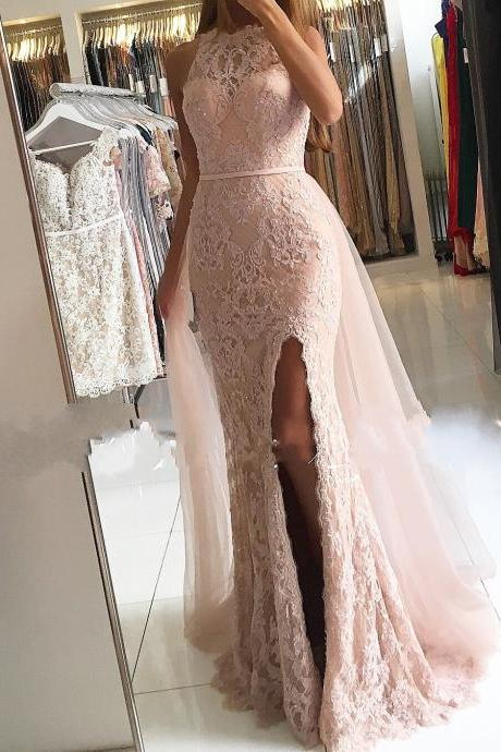 halter dusty pink evening dresses with detachable train lace applique beaded mermaid elegant sexy formal dresses vestido de festa de longo