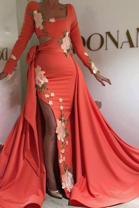embrodiery applique evening dresses long sleeve detachable train coral elegant cheap evening gown robe de soiree 2020