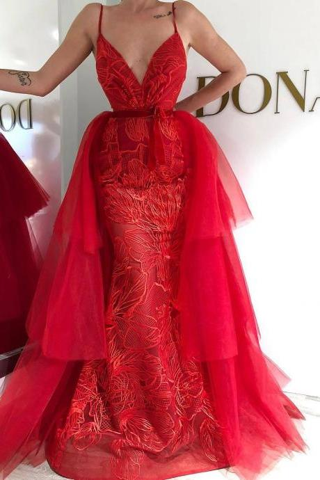 red evening dresses 2020 lace applique tulle elegant formal dress vestido de longo luxury detachable skirt evening gown
