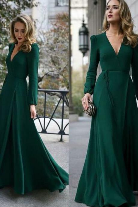 deep v neck green prom dresses long sleeve chiffon cheap elegant a line prom gown vestido de longo