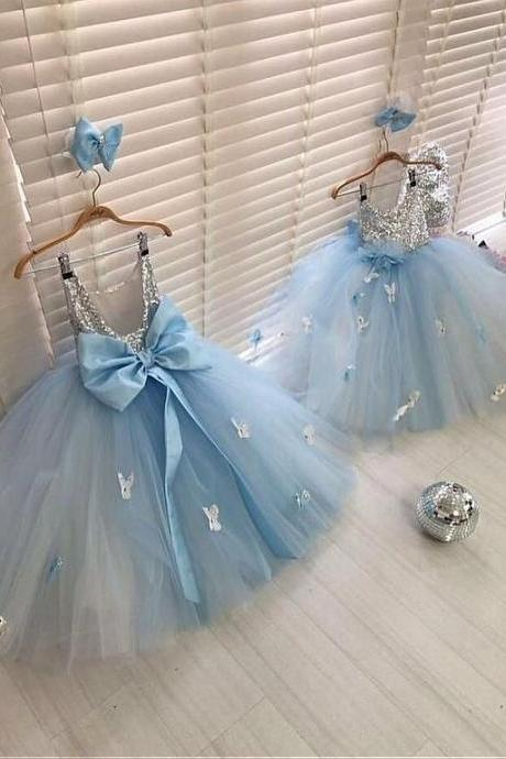 blue baby girl dresses for birthday party dresses 2020 sequin sparkly handmade flowers cheap kids prom dress ball gown vestido de novia
