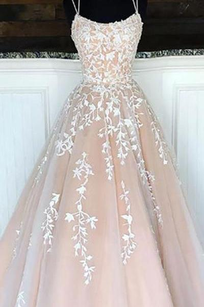 dusty pink lace applique prom dresses long scoop neck elegant cheap a line prom gown vestido elegantee 2020