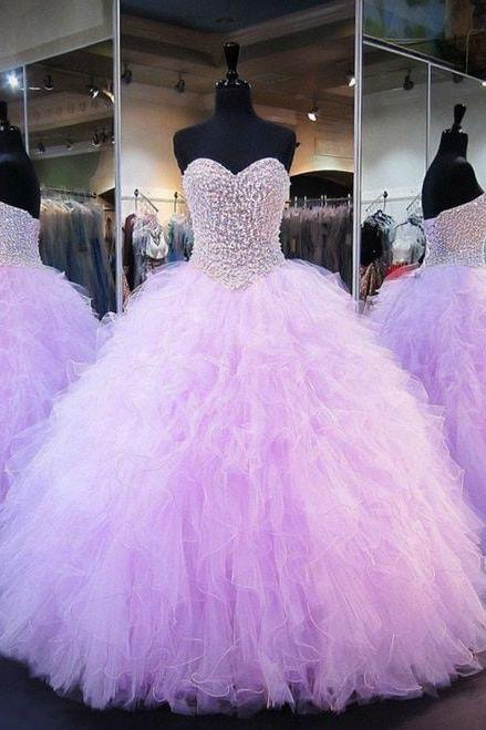 lavender beaded prom dresses ball gown crystals purple elegant luxury quinceanera dresses vestido de festa de longo 2020