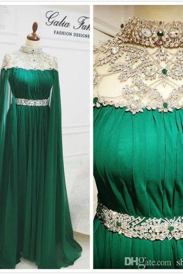 high neck crystals prom dresses long chiffon green beaded dubai caftan cheap prom gown vestido de festa de longo 2020