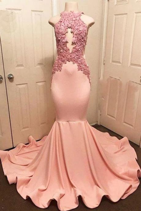 pink evening dresses long satin lace applique beaded elegant sleeveless mermaid evening gown formal dresses 2020 vestido de festa de longo