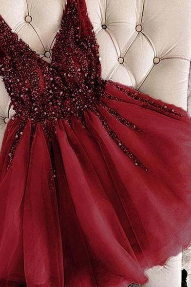 burgundy prom dresses short v neck beaded crystals sleeveless cheap tulle homecoming dresses 2020 vestido de festa de curto
