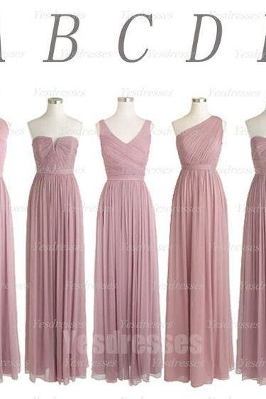 dusty pink bridesmaid dresses long chiffon cheap mismatched wedding party dresses robe de soiree vestido de longo 2020