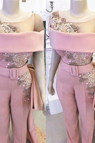 dusty pink jumpsuits for weddings 2020 lace applique beaded elegant pants for women vestido de longo robe de soiree