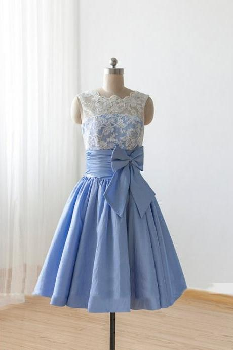 blue short bridesmaid dresses 2020 vintage lace applique a line taffta cheap wedding party dresses vestido de festa de curto