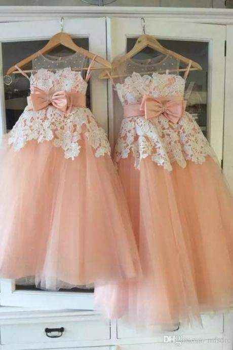 lace applique flower girl dresses for weddings 2020 peach cute cheap elegant kids baby girl prom dresses vestido de flora