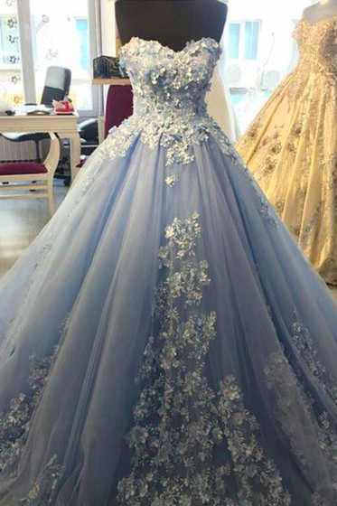 blue prom dresses ball gown lace applique beaded 3d flowers elegant luxury prom gowns vestido de festa de longo