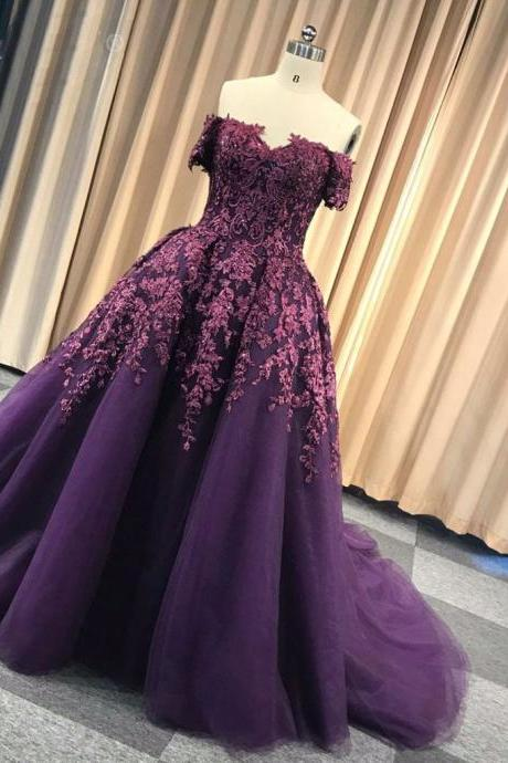 deep purple prom dresses long off the shoulder lace appliqe beaded elegant modest prom gown robe de soiree 2020