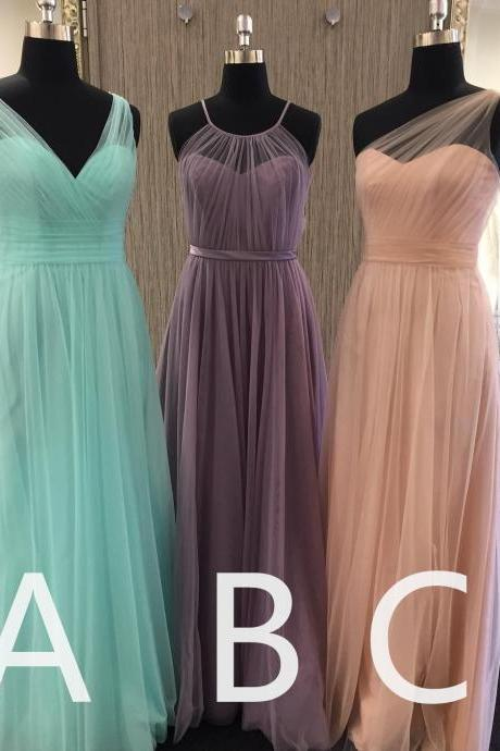 mismatched bridesmaid dresses long tulle elegant a line cheap wedding guest dresses robe de soiree 2020