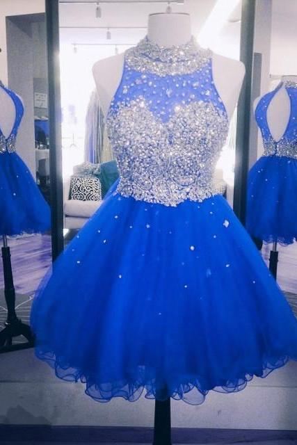royal blue homecoming dresses short high neck beaded crystals sparkly cheap prom dresses vestido de graduacion