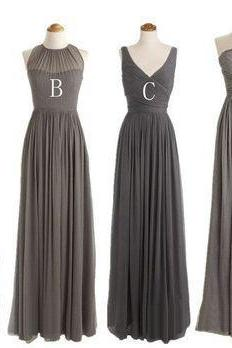 mismatched gray bridesmaid dresses for women chiffon a line cheap long custom wedding party dresses vestido de longo