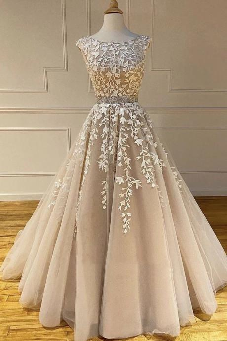 champagne lace applique prom dresses long cap sleeve beaded elegant real photo 2020 prom gown robe de soiree