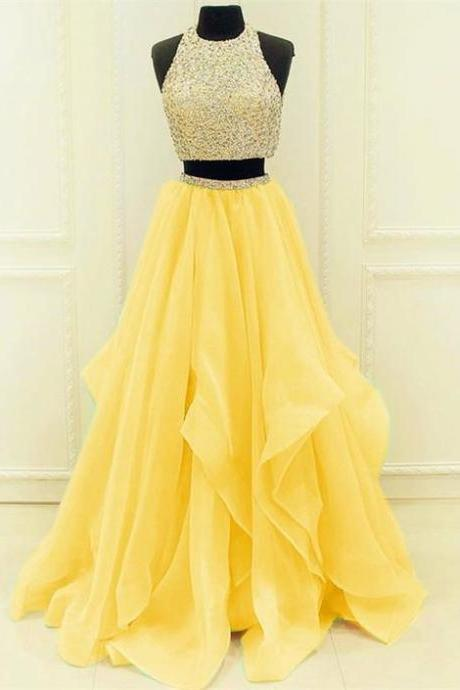 o neck prom dresses long sleeveless beaded yellow a line tiered cheap prom gown robe de soiree vestido de longo 2020