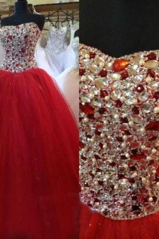 red quinceanera dresses 2020 crystals beaded ball gown prom dresses sweet 18 vestido de graduacion