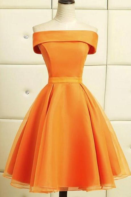 orange short bridesmaid dresses 2020 a line satin cheap strapless custom wedding party dresses