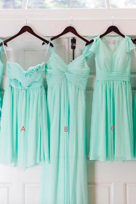 mint green bridesmaid dresses short chiffon mismatched a line cheap custom junior wedding party dresses robe de soiree