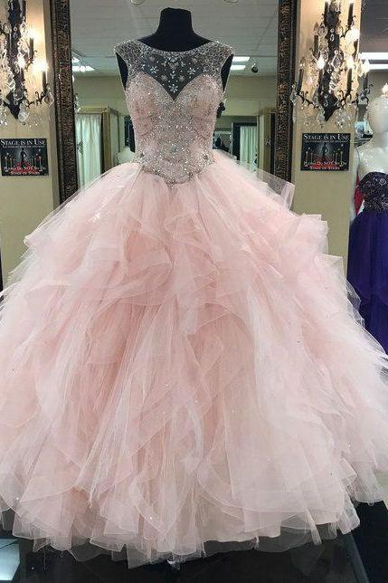 quinceanera dresses ball gown pink beaded cap sleeve elegant tiered prom dresses vestido de graduacion 2020