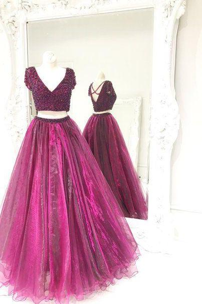 short sleeve two piece prom dresses long beaded v neck organza a line prom gown vestido de festa de longo
