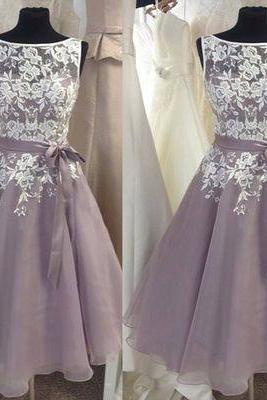 dusty purple bridesmaid dresses short lace applique a line sleeveless elegant custom wedding party dresses vestido de festa