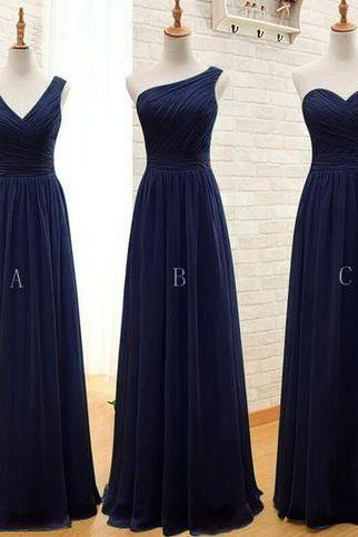 mismatched bridesmaid dresses long navy blue chiffon cheap custom wedding guest dresses robe de soiree