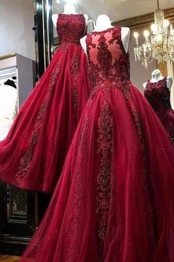 burgundy lace applique prom dresses long beaded sleeveless elegant a line luxury vintage prom gown vestido de festa de longo