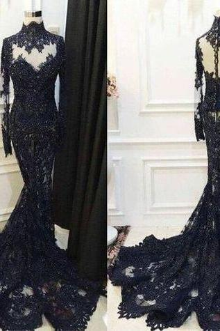 black evening dresses long sleeve high neck lace applique elegant evening gown formal dresses vestido de festa de longo 2020