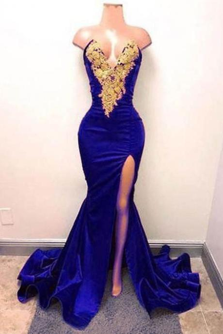 royal blue mermaid evening dresses long gold lace applique elegant evening gown formal dresses robe de soiree
