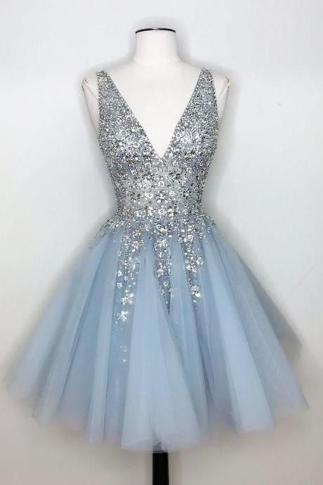 v neck beaded prom dresses short vestido de graduacion 2020 crystals sleeveless elegant knee length cheap prom gown vestido de festa de curto