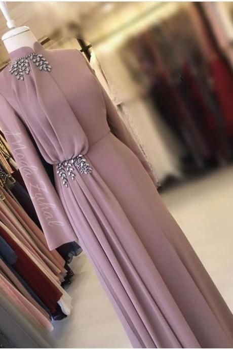 dusty pink high neck prom dresses long sleeve vintage beaded elegant muslim prom gown vestido de festa de longo 2020