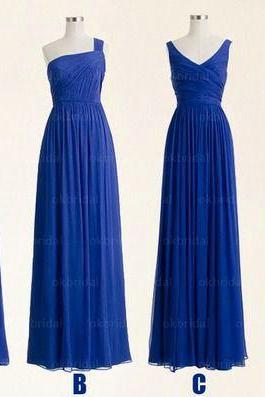 weding party dresses long chiffon royal blue mismatched bridesmaid dresses 2020 vestido de festa de longo