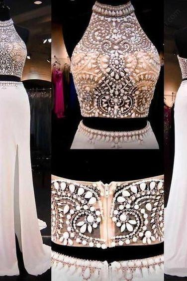 two piece prom dresses long mermaid high neck beaded halter crystals chiffon sexy formal dresses robe de soiree 2020