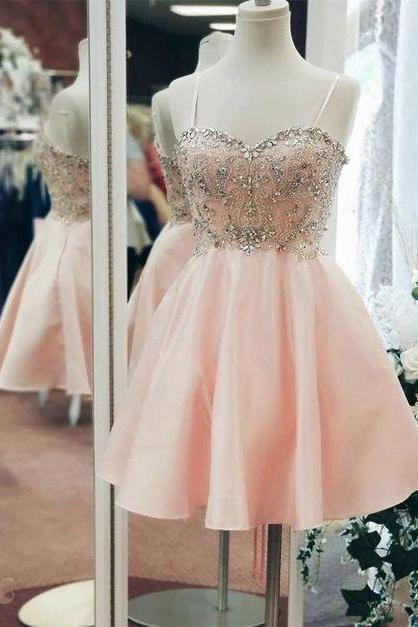 short prom dresses pink spaghetti straps beaded a line knee length crystals cheap graduation dresses vestido de festa 2020