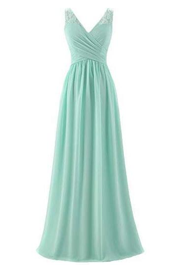 mint green bridesmaid dresses long v neck chiffon lace applique elegant wedding party dresses vestido de festa de longo