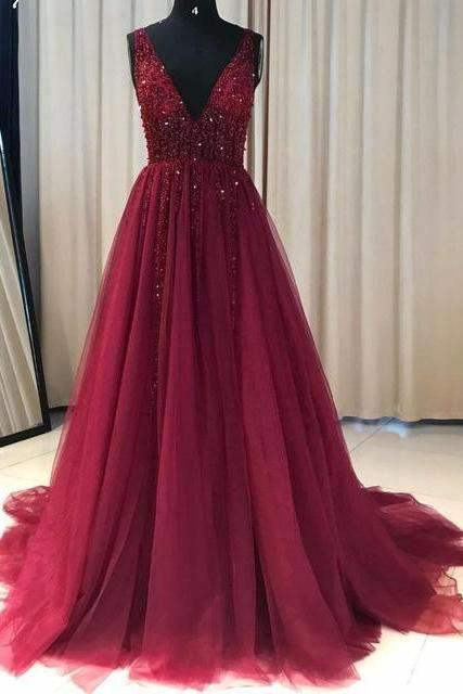 v neck prom dresses long tulle burgundy beaded sleeveless elegant a line prom gowns robe de soiree
